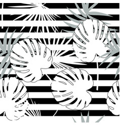 tropical seamless floral pattern with palm vector image