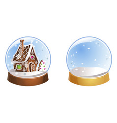 Two christmas snow globes with snowflakes isolated vector