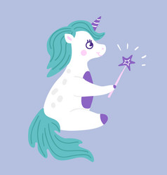 unicorn wizard cartoon vector image