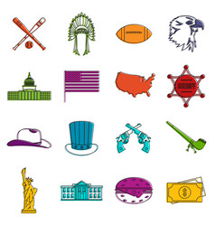 usa icons doodle set vector image
