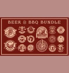 vintage food badges bundle vector image