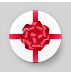White Round Gift Box with Red Bow and Ribbon vector