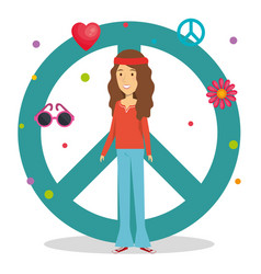 woman hippie lifestyle characters vector image