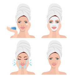 woman showing four steps for washing face vector image