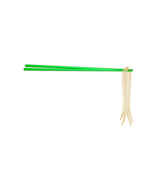 wooden chopsticks in green design holding noodles vector image