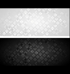 black and grey banners with squares vector image