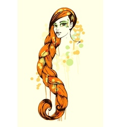 grungy sketch of girl with long hair vector image