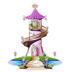 pink fairytale castle vector image vector image