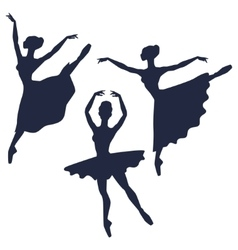 Set of ballerinas silhouettes on white background vector image