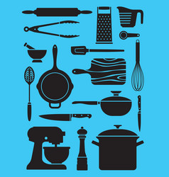 set of kitchen tools and utensils vector image