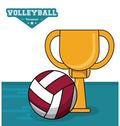 volleyball sport trophy ball vector image vector image