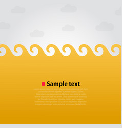 yellow sea and waves bright background vector image
