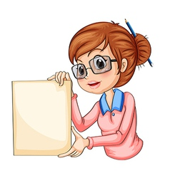A girl with a pencil on her hair holding an empty vector image vector image