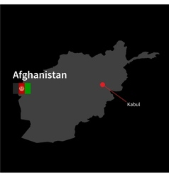 Detailed map of Afghanistan and capital city Kabul vector image vector image
