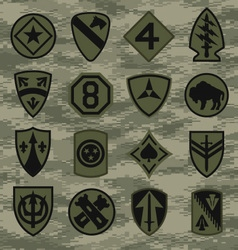 Military camouflage emblem patch set in green vector image