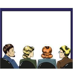 pop art of spectators in first vector image vector image