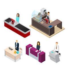 receptionists set isometric view vector image