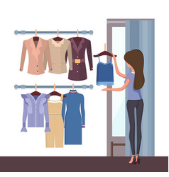 store and woman with clothes vector image vector image