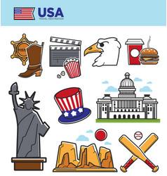 usa america travel landmarks symbols and american vector image