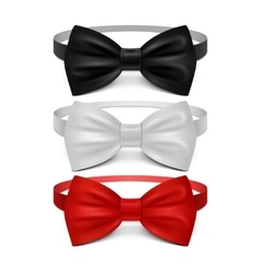Realistic white black and red bow tie set vector image vector image
