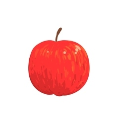Red Isolated Apple Funky Hand Drawn Fresh Fruit vector image