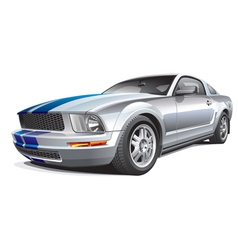 silver muscle car vector image vector image