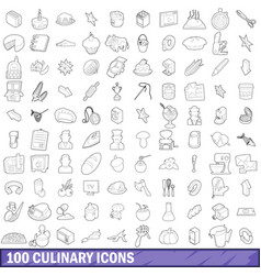 100 culinary icons set outline style vector image