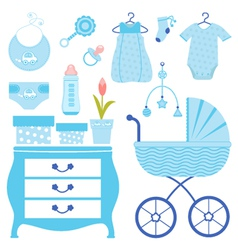baby shower in blue vector image vector image