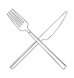 Crossed Fork and Knife vector image vector image