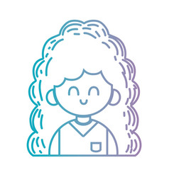 line beauty girl with hairstyle and uniform vector image