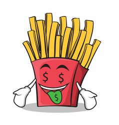 money mouth french fries cartoon character vector image