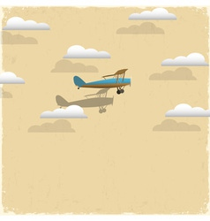 Retro airplane and clouds from paper vector