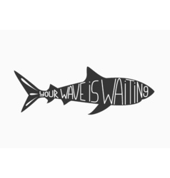 Silhouette of shark isolated on white vector image
