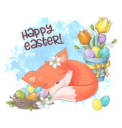 a cute cartoon fox is sleeping with a nest of vector image