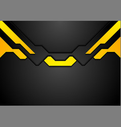 abstract black yellow hi-tech corporate background vector image