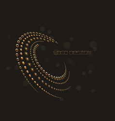 abstract circular halftone dots form in gold vector image