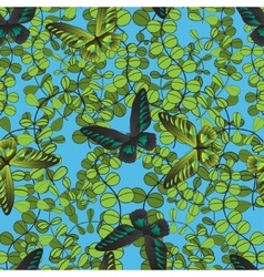 abstract foliar seamless pattern with butterfly vector image