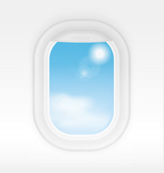 Aircraft realistic interior window with cloudy vector