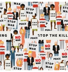 Antiwar demonstration crowd of flat people vector image