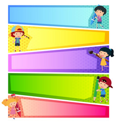 Banner templates with happy kids vector