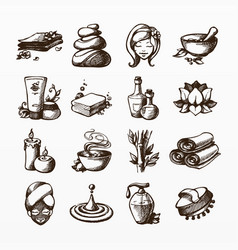beauty and wellness icon set vector image