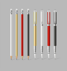 Big set colored pens and pencils with erasers vector
