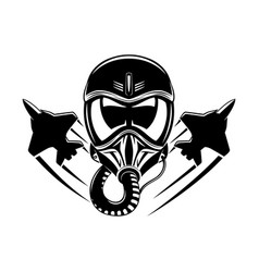 black aviation helmet and military aircraft sign vector image