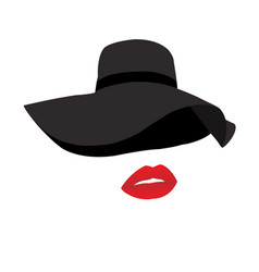 black hat and red lips vector image