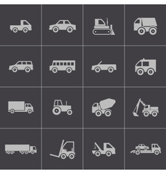black vehicle icons set vector image