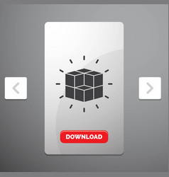 Box labyrinth puzzle solution cube glyph icon in vector