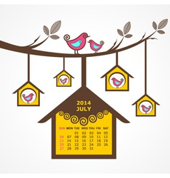 Calendar of July 2014 with birds sit on branch vector image