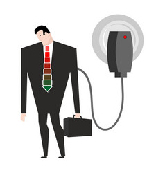 charging for businessman man in suit and charger vector image