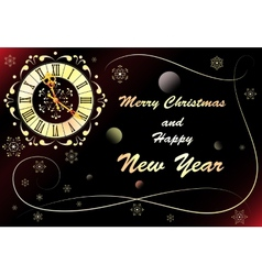 Christmas background with clock banner vector image