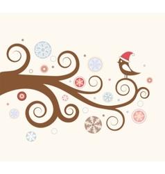 christmas card bird vector image vector image